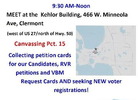 Canvassing Opportunity This Weekend in Clermont Area