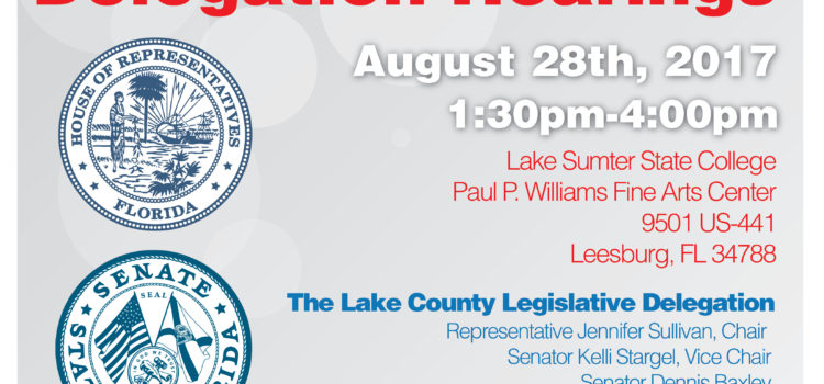 DEADLINE TODAY: If you would like to speak at the Lake County Legislative Delegation
