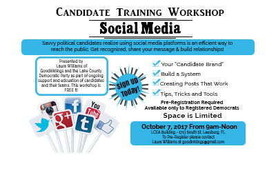 Lake County Democratic Candidates Social Media Workshop- Oct. 7, 2017